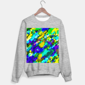 Miniature de image de psychedelic geometric square pixel pattern abstract in green yellow blue purple Sweater regular, Live Heroes