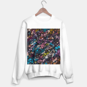 Miniature de image de psychedelic geometric square pixel pattern abstract in pink blue brown yellow black Sweater regular, Live Heroes