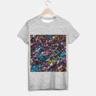 ... psychedelic geometric square pixel pattern abstract in pink blue brown  yellow black T-shirt regular