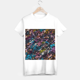 Miniatur psychedelic geometric square pixel pattern abstract in pink blue brown yellow black T-shirt regular, Live Heroes