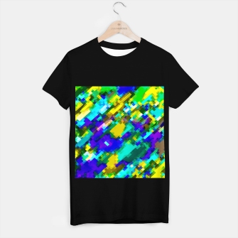 Miniatur psychedelic geometric square pixel pattern abstract in green yellow blue purple T-shirt regular, Live Heroes