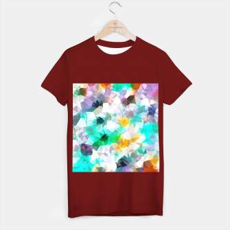 Miniatur psychedelic geometric triangle polygon pattern abstract background in green blue yellow T-shirt regular, Live Heroes