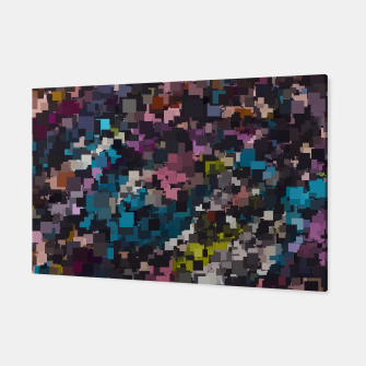 Imagen en miniatura de psychedelic geometric square pixel pattern abstract in pink blue brown yellow black Canvas, Live Heroes