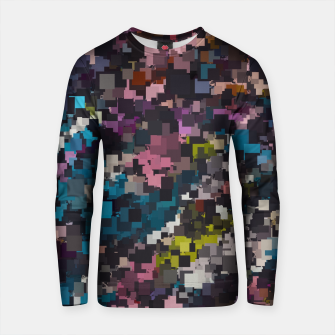 Miniature de image de psychedelic geometric square pixel pattern abstract in pink blue brown yellow black Cotton sweater, Live Heroes