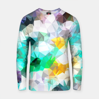 Miniature de image de psychedelic geometric triangle polygon pattern abstract background in green blue yellow Cotton sweater, Live Heroes