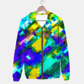 Thumbnail image of psychedelic geometric square pixel pattern abstract in green yellow blue purple Cotton zip up hoodie, Live Heroes