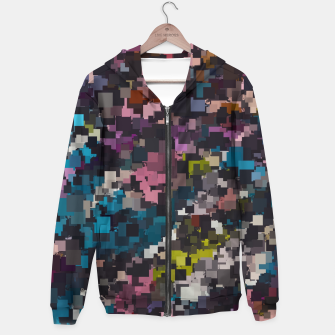 Thumbnail image of psychedelic geometric square pixel pattern abstract in pink blue brown yellow black Cotton zip up hoodie, Live Heroes