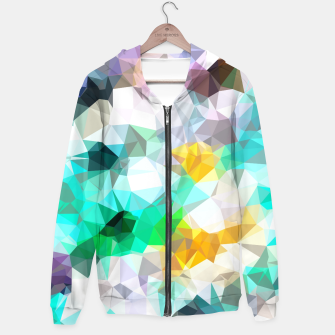 Thumbnail image of psychedelic geometric triangle polygon pattern abstract background in green blue yellow Cotton zip up hoodie, Live Heroes