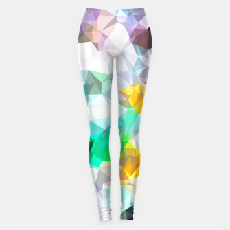 Miniaturka psychedelic geometric triangle polygon pattern abstract background in green blue yellow Leggings, Live Heroes