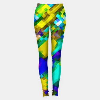 Miniaturka psychedelic geometric square pixel pattern abstract in green yellow blue purple Leggings, Live Heroes