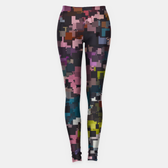 Miniaturka psychedelic geometric square pixel pattern abstract in pink blue brown yellow black Leggings, Live Heroes