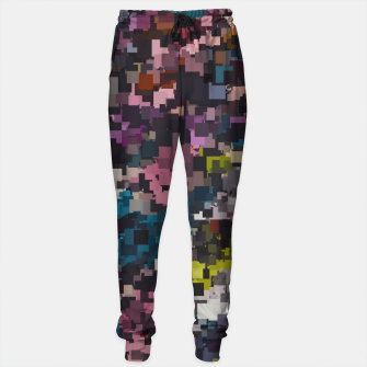 Miniaturka psychedelic geometric square pixel pattern abstract in pink blue brown yellow black Cotton sweatpants, Live Heroes