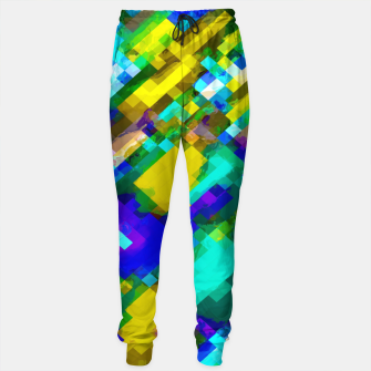 Miniaturka psychedelic geometric square pixel pattern abstract in green yellow blue purple Cotton sweatpants, Live Heroes