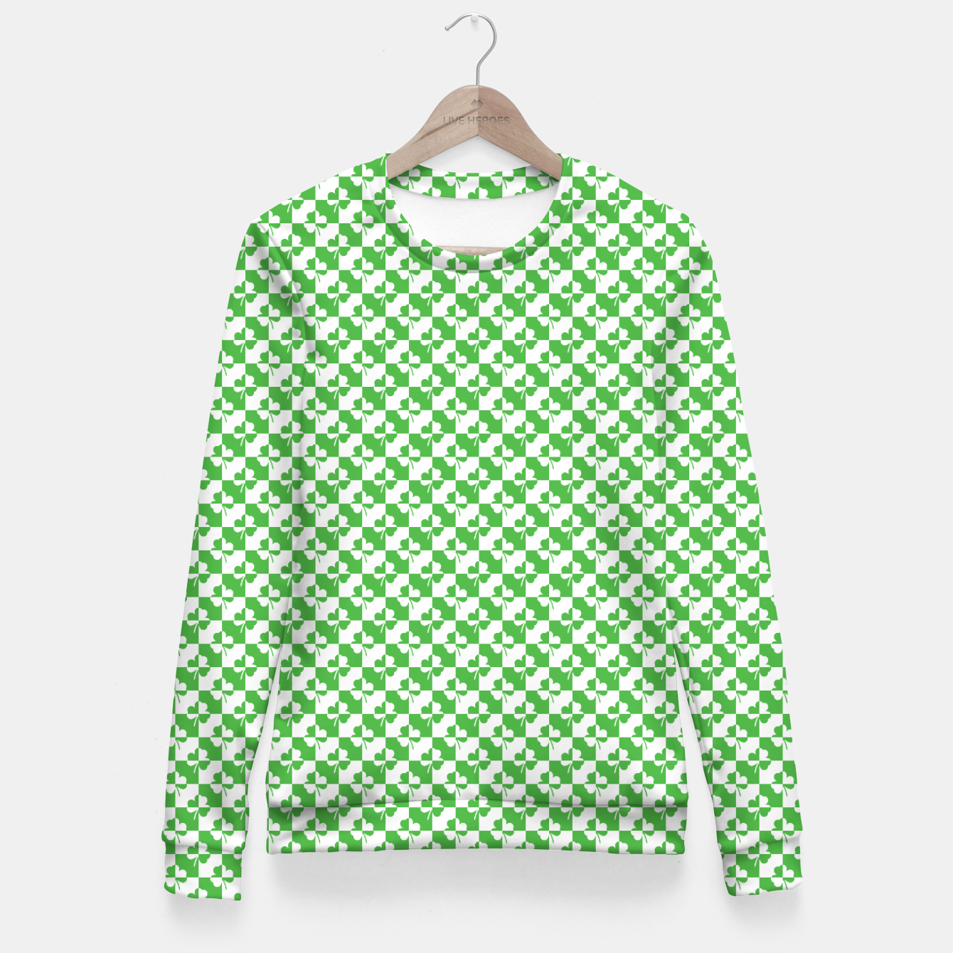 bab4603a5 Mini St. Patrick's Day Ireland Checker Clover Woman cotton sweater, Live  Heroes