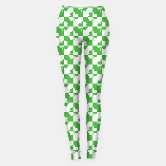 Miniaturka St. Patrick's Day Ireland Checker Clover Leggings, Live Heroes