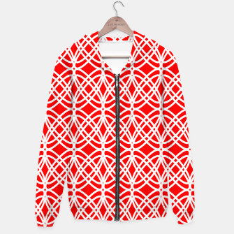 Miniaturka Abstract pattern - red and white. Cotton zip up hoodie, Live Heroes