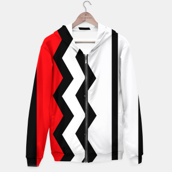 Miniaturka Abstract geometric pattern - red, gray, black and white. Cotton zip up hoodie, Live Heroes