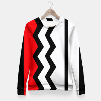 Imagen en miniatura de Abstract geometric pattern - red, gray, black and white. Woman cotton sweater, Live Heroes