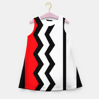 Imagen en miniatura de Abstract geometric pattern - red, gray, black and white. Girl's summer dress, Live Heroes
