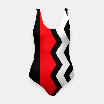 Imagen en miniatura de Abstract geometric pattern - red, gray, black and white. Swimsuit, Live Heroes