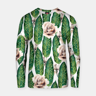 Thumbnail image of Tropical leaves and white roses Sudadera de algodón, Live Heroes