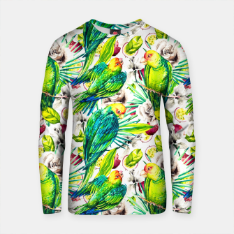 Thumbnail image of Flowery jungle of birds and fruit pattern Sudadera de algodón, Live Heroes