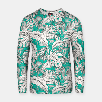 Thumbnail image of Drawing of tropical plants on turquoise Sudadera de algodón, Live Heroes
