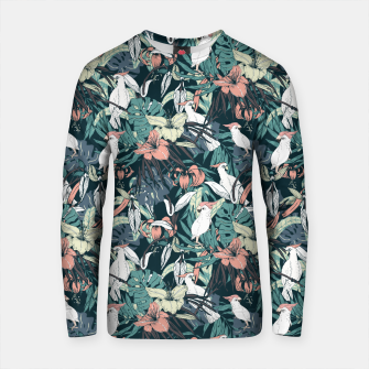 Thumbnail image of Pattern drawing exotic birds in the nocturnal jungle Sudadera de algodón, Live Heroes
