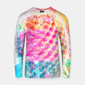 Miniatur closeup cactus with colorful painting abstract in pink orange blue Cotton sweater, Live Heroes