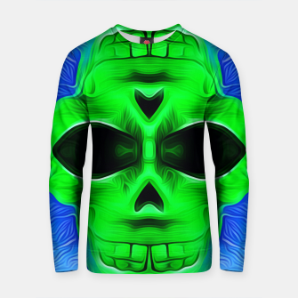 Thumbnail image of green skull with blue background Cotton sweater, Live Heroes