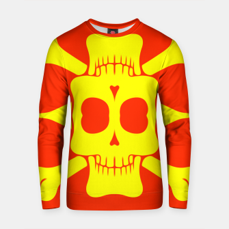 Thumbnail image of yellow square skull and bones with red background Cotton sweater, Live Heroes