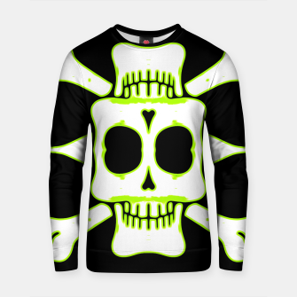 Thumbnail image of green and white square skull and bones with black background Cotton sweater, Live Heroes