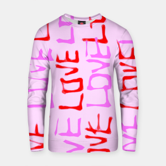 Thumbnail image of LOVE alphabet handwriting drawing in red and pink Cotton sweater, Live Heroes