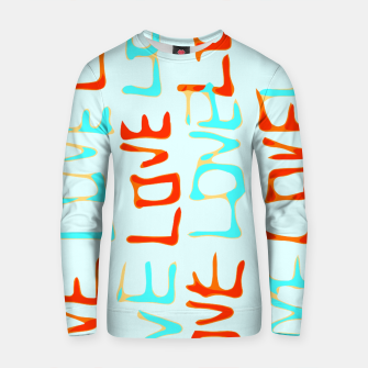 Thumbnail image of LOVE alphabet handwriting drawing in red and blue Cotton sweater, Live Heroes