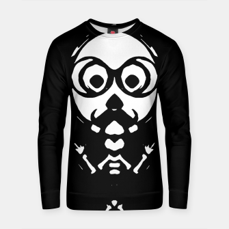 Thumbnail image of old skinny skull and bone with glasses in black and white Cotton sweater, Live Heroes