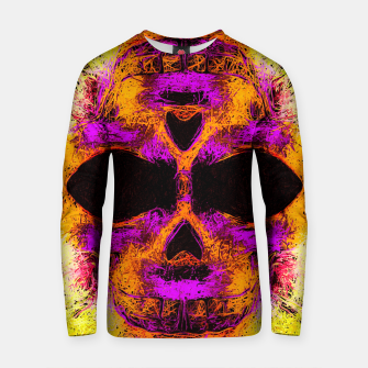Thumbnail image of psychedelic angry skull portrait in pink orange yellow Cotton sweater, Live Heroes