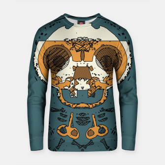 Thumbnail image of orange and brown skull and bone graffiti drawing with green background Cotton sweater, Live Heroes
