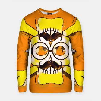 Thumbnail image of yellow old vintage skull and bone graffiti drawing with orange background Cotton sweater, Live Heroes