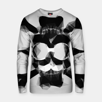Thumbnail image of psychedelic skull art geometric triangle pattern abstract in black and white Cotton sweater, Live Heroes