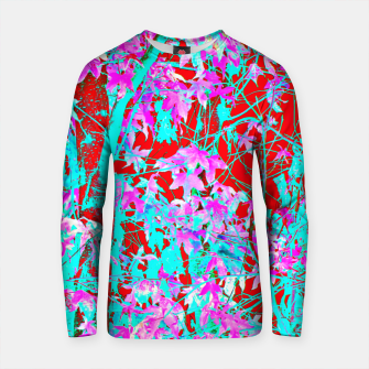Thumbnail image of pink maple tree leaf with blue and red abstract background Cotton sweater, Live Heroes