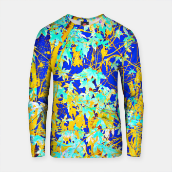 Thumbnail image of green maple tree leaf with blue and yellow abstract background Cotton sweater, Live Heroes