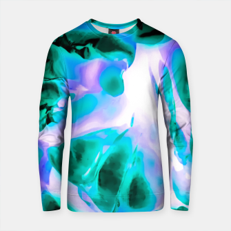 Thumbnail image of closeup rose texture abstract background in blue purple and green Cotton sweater, Live Heroes