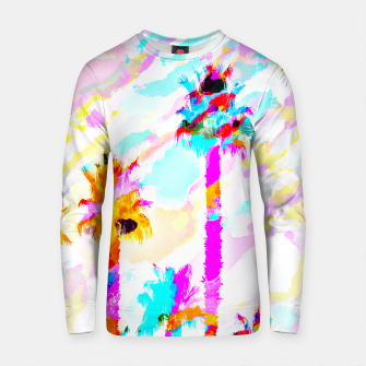 Miniature de image de palm tree with colorful painting texture abstract background in pink blue yellow red Cotton sweater, Live Heroes