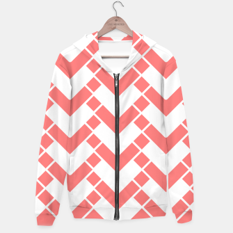 Miniaturka Abstract geometric pattern - pink and white. Cotton zip up hoodie, Live Heroes