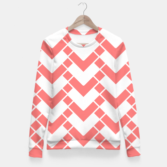 Imagen en miniatura de Abstract geometric pattern - pink and white. Woman cotton sweater, Live Heroes