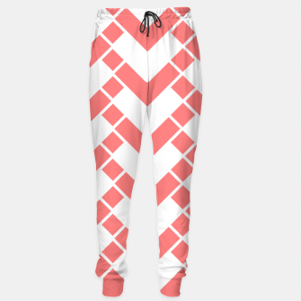 Miniaturka Abstract geometric pattern - pink and white. Cotton sweatpants, Live Heroes