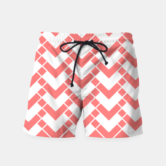 Miniatur Abstract geometric pattern - pink and white. Swim Shorts, Live Heroes