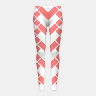 Miniaturka Abstract geometric pattern - pink and white. Girl's leggings, Live Heroes