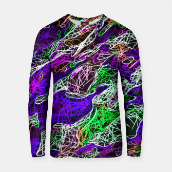 Thumbnail image of psychedelic rotten sketching texture abstract background in purple blue green Cotton sweater, Live Heroes