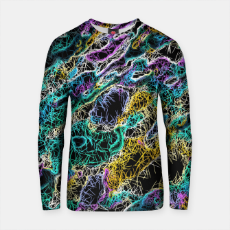 Thumbnail image of psychedelic rotten sketching texture abstract background in green purple yellow Cotton sweater, Live Heroes